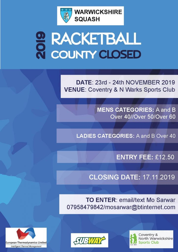 flyer for the warwickshire squash 2019 county closed racketball competition